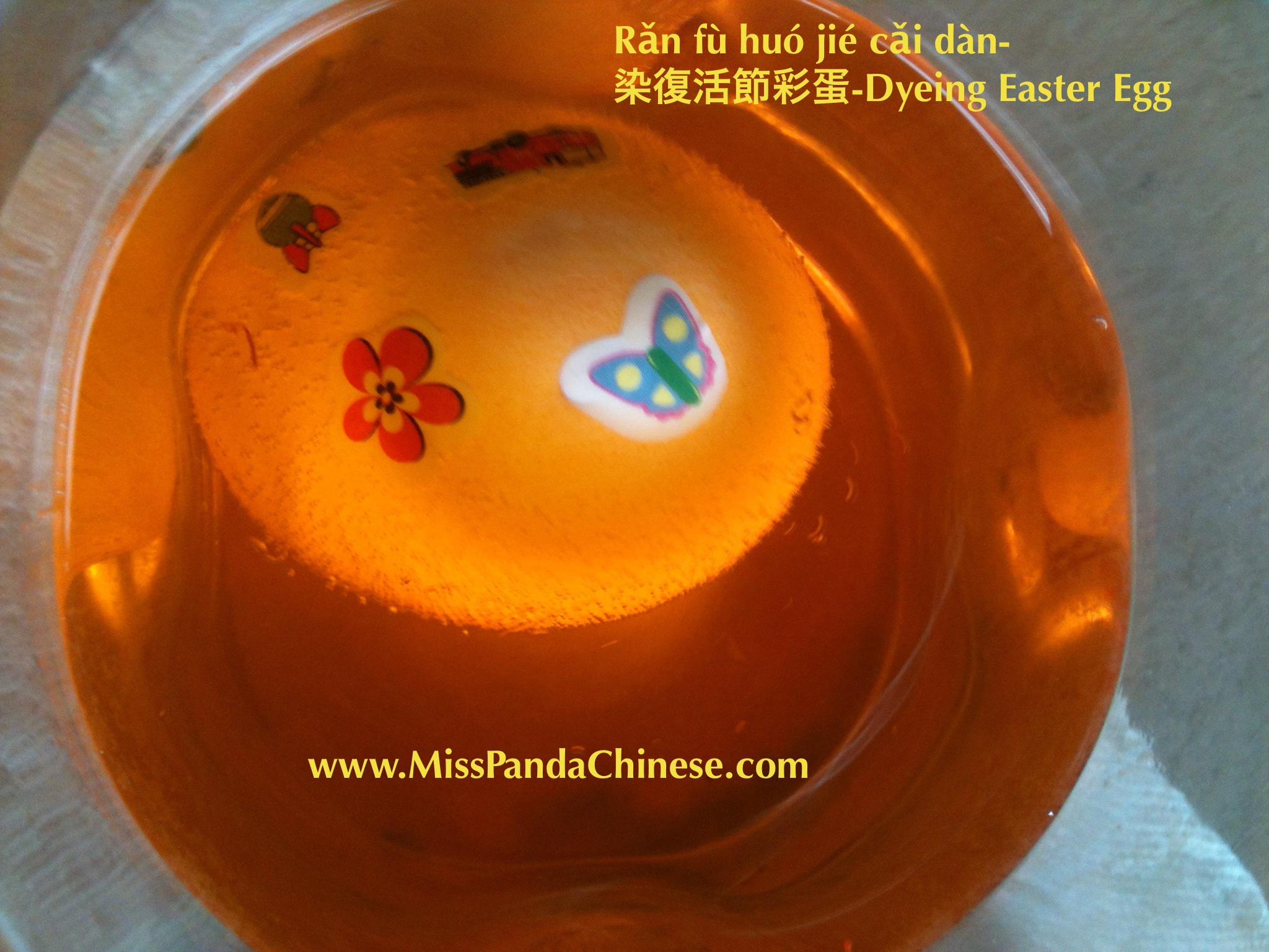 Miss Panda Chinese- Dyeing an Easter Egg