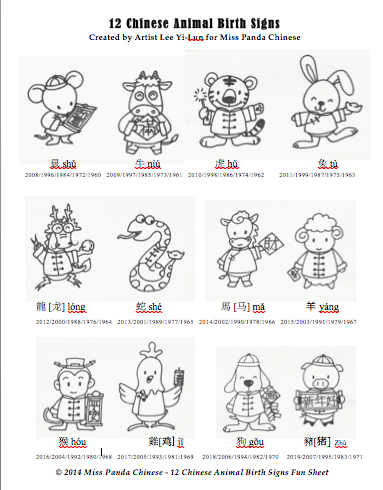 The 12 Chinese Animal Birth Signs with Printable « Miss Panda Chinese ...