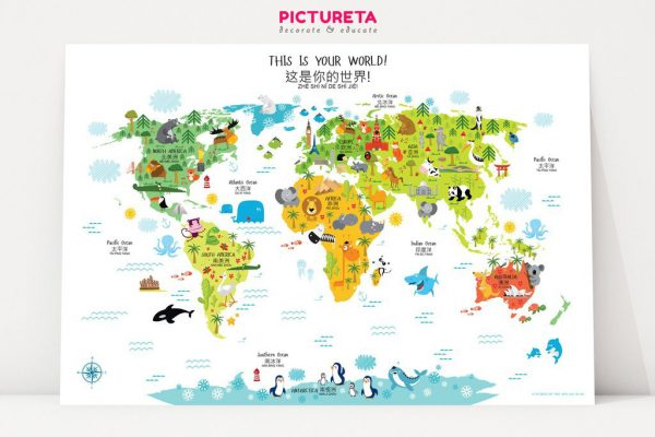 pictureta chinese world map for kids white | Miss Panda Chinese Gift Guide